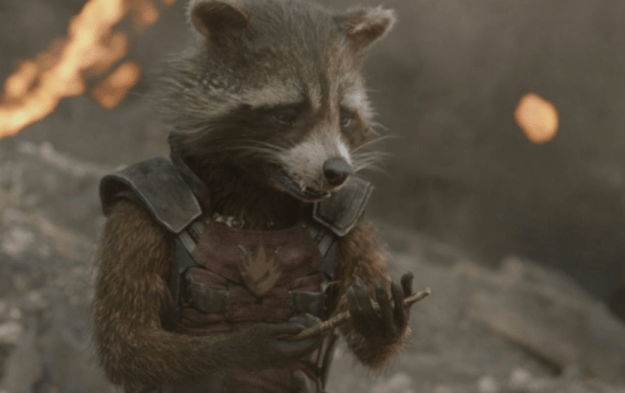 The whole ending was A LOT, but one of the hardest parts was watching teen Groot disappear right in front of Rocket. Especially because we've seen Groot die – and Rocket grieve for him – once before, in Guardians of the Galaxy...