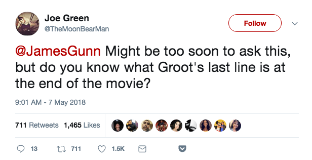 Well, Gunn is up to his old life-destroying Twitter tricks again, thanks to this question from user Joe Green.