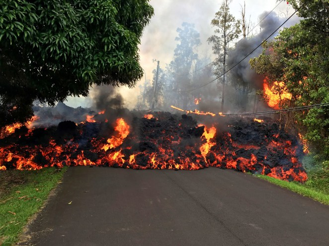 A lava flow on Makamae Street in the Leilani Estates subdivision near Pahoa.