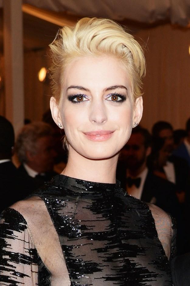 Anne Hathaway debuted this blonde look at the 2013 Met Gala: