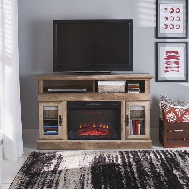 """Promising review: """"We love our media center. The fireplace insert adds just enough heat to take the chill off our family room. There was plenty of room for our DVD player and game system. We were impressed with the quality look, details, and weight of this center."""" —CampersRusPrice: $249 (originally $279)"""