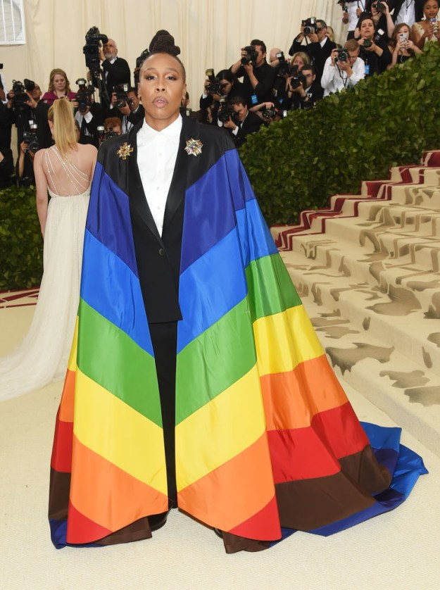 Master of None's Lena Waithe made a statement at the Catholicism-themed Met Gala this year by sporting a rainbow flag-cape...