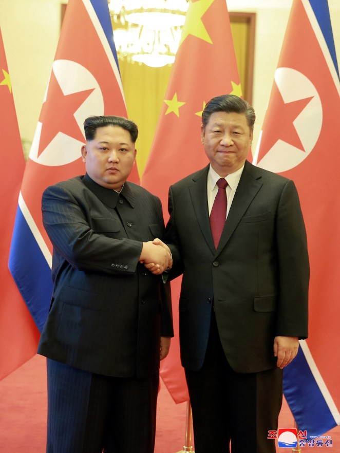 Kim Jong Un and Xi Jinping at their first meeting in March.