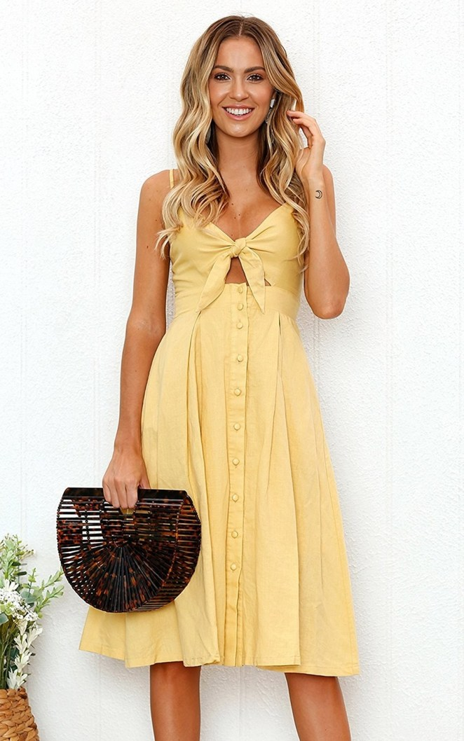 "Promising review: ""I really love this dress. It's super cute for a nice summer day, stroll in the city, or a bridal shower–type dress. It's very fun and flirty but classy at the same time. I love the top piece and how you tie it. It's super adorable; I highly recommend it!"" —Dena HGet it from Amazon for $6.99+ (available in sizes S-XL and in 14 colors)."