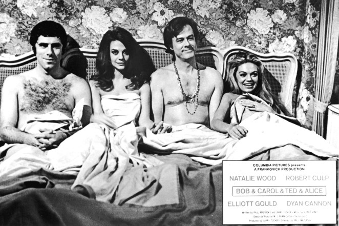 American actors Elliott Gould, Natalie Wood, Robert Culp, and Dyan Cannon in a promotional still from the film Bob & Carol & Ted & Alice, directed by Paul Mazursky, 1969.