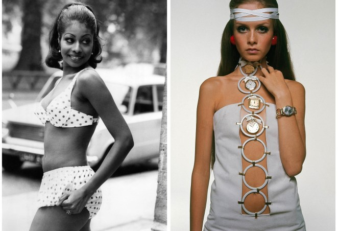 Left: Model Valerie St. Helene shows off the latest bikini fashions at the Trend Swimwear Show in London in 1969. Right: Model Twiggy poses for Vogue in a signature Sant'Angelo suede dress in 1967.