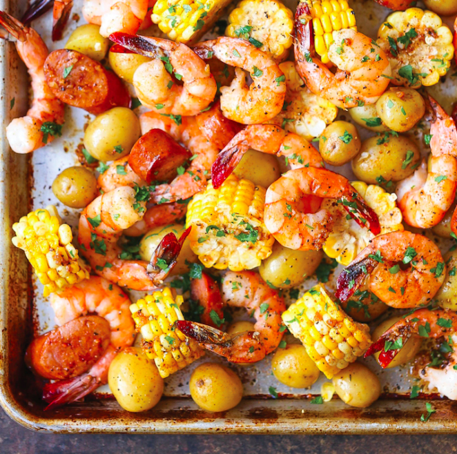 Everything you love about a classic shrimp boil made on a single sheet tray. Get the recipe.