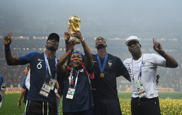 Paul Pogba celebrates with his family after the 2018 FIFA World Cup final between France and Croatia.