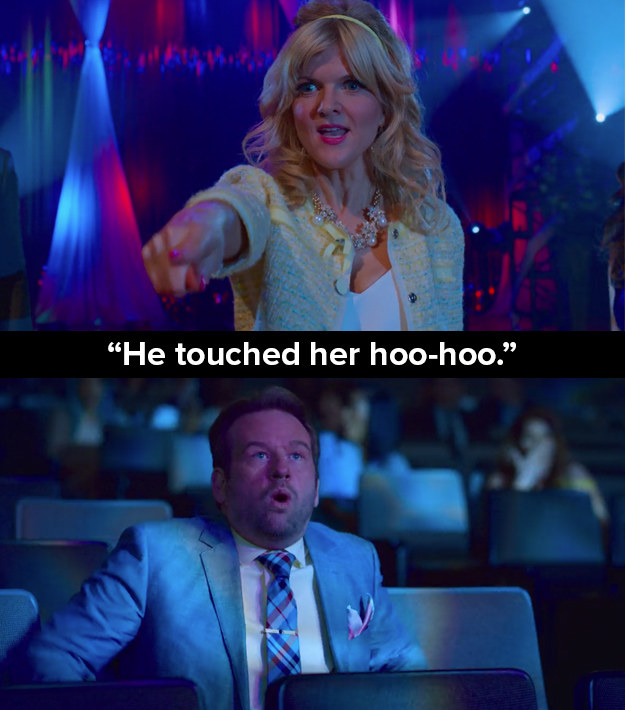 "In one scene in the opening episode, Bob (Dallas Roberts) is falsely accused of sexual assault by Regina Sinclair (Arden Myrin) as her child failed to win a competition. In another episode Bob says: ""The accusations were false. I'm a champion of women, especially young women. I want to touch as many of them.... as I possibly can."""