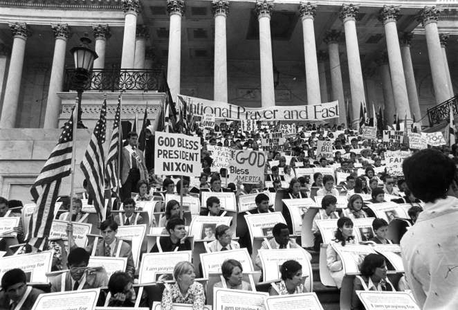 A prayer vigil is held in support of President Nixon on July 29, 1974.