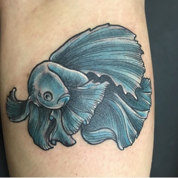"""This is my daughter's tattoo of her betta fish, Lamar. She loved him so, so much."" —jennyc1977"