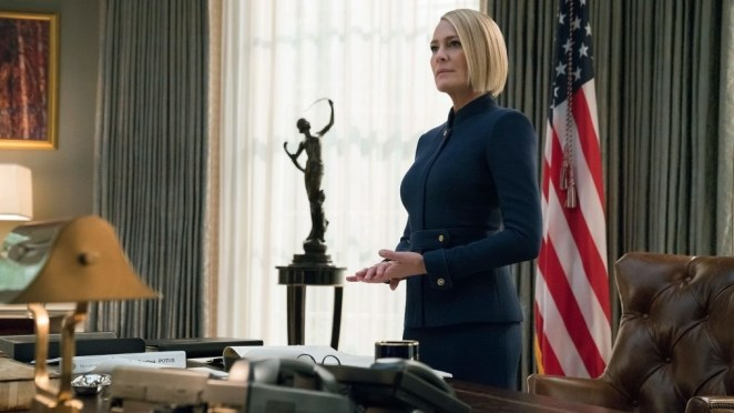 """Plot: """"House of Cards"""" sixth and final season will follow Claire as POTUS.Starring: Robin Wright, Diane Lane, Greg Kinnear, Cody Fern, Michael Kelly, Patricia Clarkson, Constance Zimmer"""