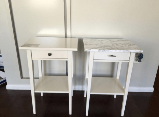 """I used this adhesive film to turn two cheap Ikea tables into less cheap looking Ikea tables because I'm not made of money but I would like others to believe I am. It's super simple to use and you get a ton of it for the price, so I was really pleased overall. The pattern actually looks like marble — not a weird pixel-y repetitive pattern so that's great as well."" —Spencer House"