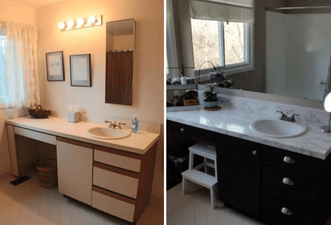 """I got this to cover an old laminate counter in the guest bath. I wish it were wider, but the seams are not that noticeable. It looks glossy and clean. I used calk around the sink to cover my poor cutting ability. The old laminate cabinet was beautifully transformed by this paint."" —Jacksmom"