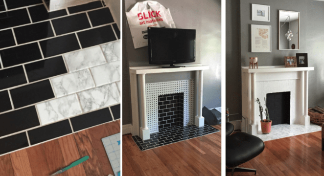 """I used a little more than one roll for a quick makeover on an ugly fireplace in a rental apartment. It's easy to cover the tiles with the film. It makes a huge difference for minimal effort/price."" —Zhen"