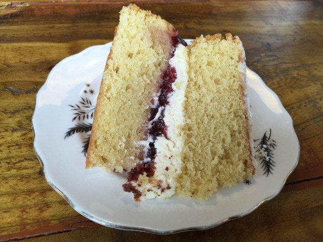 """In England we have the Victoria sponge — two layers of sponge cake sandwiched with a layer of vanilla cream and raspberry or strawberry jam.""—shivanil"