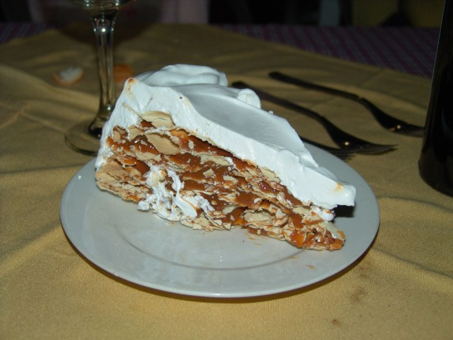 """There are multiple Argentinian classics and most of them involve a lot of dulce de leche. Rogel is a cake with multiple layers of crust and dulce de leche, all covered in meringue. Delicious!"" —marianal4bc348272"