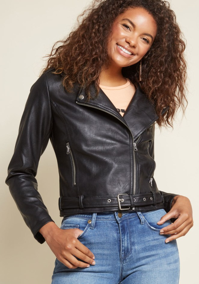 I am convinced everyone should own a leather jacket. Get it from ModCloth for $89 (available in sizes XXS–4X).