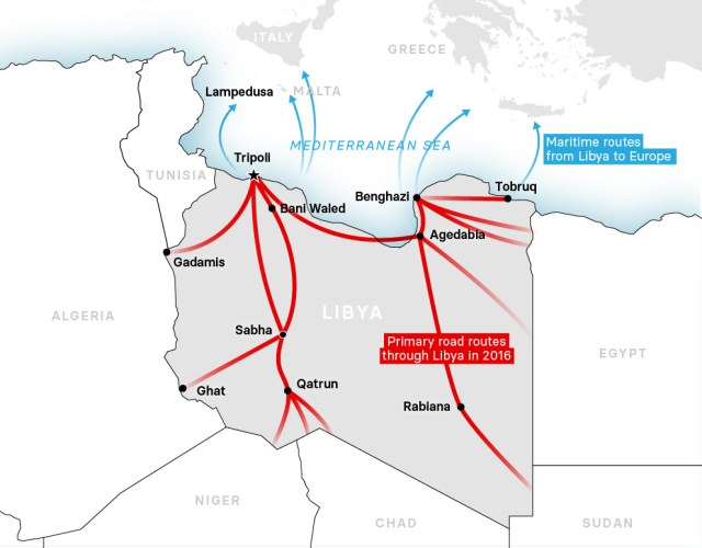 Primary migrant routes through Libya on the way to Europe in 2016. Source: UNHCR Libya