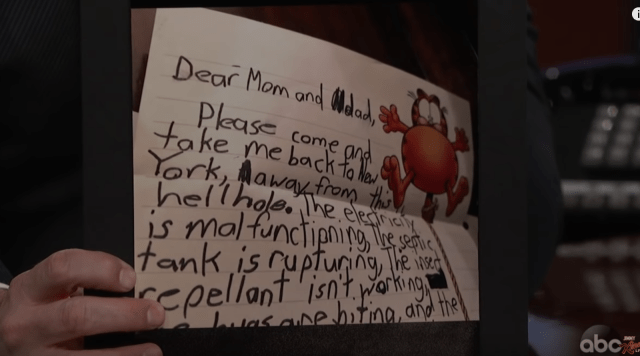 """""""Dear Mom and Dad, Please come take me back to New York, away from this hell hole. The electricity is malfunctioning, the septic tank is rupturing, the insect repellant isn't working..."""""""