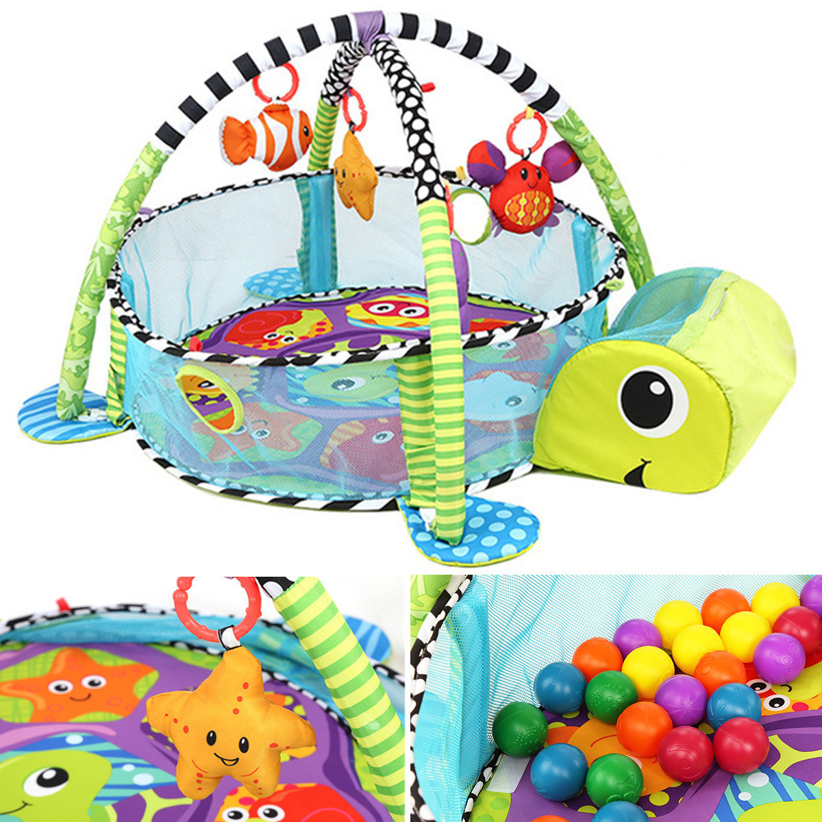 """This set includes 40 colorful balls that can be stored in the turtle's li'l noggin. Promising review: """"My daughter has been using this since she was a new born and she is now 10 months. This keeps her entertained and has helped her develop her hand eye coordination. It stayed packed away for a month or two when we moved and now that she is walking and crawling she loves it as a ball pit. She goes in and out and moves the balls around. This is a great toy that has kept her interest as she has grown."""" —KevinPrice: .32"""