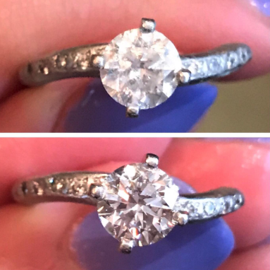 a reviewer's photo of their engagement ring before and after using the cleaning brush