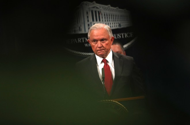 Attorney General Jeff Sessions speaks during a news conference on Oct. 16, 2018.