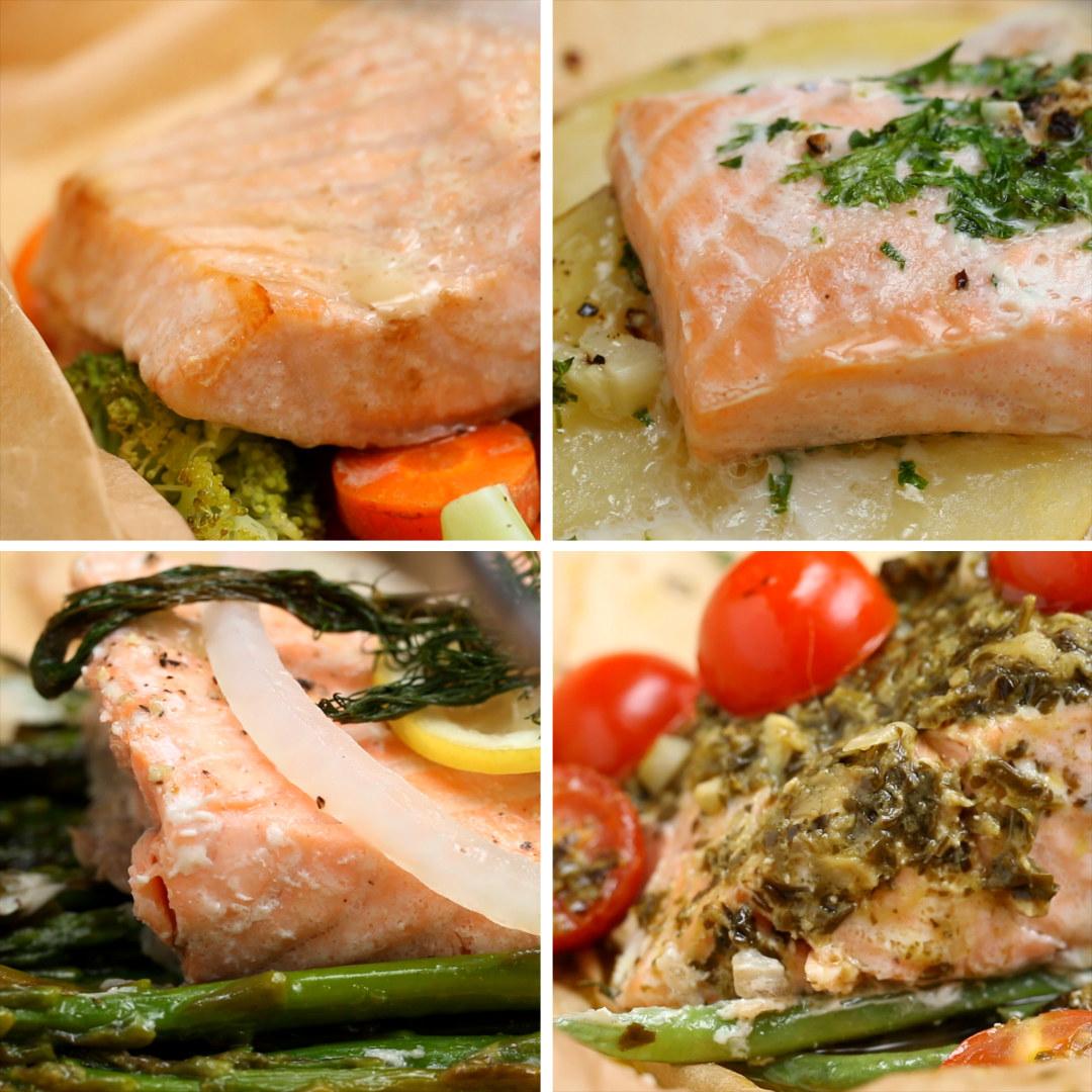 Salmão com pesto e tomatePorções: 1Você vai precisar de:Papel manteiga ou papel alumínio85g de vagensAzeite a gostoSal e pimenta a gosto170g de salmão sem pele2 colheres de sopa de molho pesto10 tomates cereja cortados ao meioModo de preparo:1. Preaqueça o forno a 180º C.2. Dobre o papel manteiga ao meio, depois abra-o.3. Em uma das metades, coloque as vagens. Regue com azeite e polvilhe sal e pimenta.4. Coloque o salmão sobre as vagens e espalhe o pesto. Cubra com os tomates.5. Dobre o papel manteiga sobre o salmão e feche, dobrando-o pelas bordas.6. Leve ao forno por 20 minutos.Salmão teriyakiPorções: 1Você vai precisar de:Papel manteiga ou papel alumínio½ xícara de cenouras em rodelas finas1 xícara de brócolisAzeite a gostoSal e pimenta a gosto170g de salmão sem pele2 colheres de sopa de molho teriyakiModo de preparo:1. Preaqueça o forno a 180ºC.2. Dobre o papel manteiga ao meio, depois abra-o.3. Em uma das metades, coloque os brócolis e as cenouras. Regue com azeite e polvilhe sal e pimenta.4. Coloque o salmão sobre os vegetais e regue com o molho teriyaki.5. Dobre o papel manteiga sobre o salmão e feche, dobrando-o pelas bordas.6. Leve ao forno por 20 minutos.Salmão com endro e limãoPorções: 1Você vai precisar de:Papel manteiga ou papel alumínio200g de aspargosAzeite a gostoSal e pimenta a gosto170g de salmão sem pele3 fatias de cebola2 fatias de limão1 raminho de endro (dill)Modo de preparo:1. Preaqueça o forno a 180ºC.2. Dobre o papel manteiga ao meio, depois abra-o.3. Em uma das metades, coloque os aspargos. Regue com azeite e polvilhe sal e pimenta.4. Coloque o salmão sobre os aspargos e adicione mais azeite, sal e pimenta.5. Coloque a cebola, o limão e o endro sobre o salmão.5. Dobre o papel manteiga sobre o salmão e feche, dobrando-o pelas bordas.6. Leve ao forno por 20 minutos.Salmão com manteiga e alhoPorções: 1Você vai precisar de:Papel manteiga ou papel alumínio1 batata em fatias finasSal e pimenta a gosto170g de salmão sem pele3 colheres de sopa de m