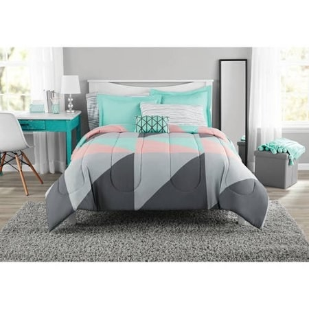 """It comes with a comforter, sham, flat sheet, fitted sheet, pillowcase, and decorative pillow.Promising review: """"Recently purchased this comforter set and I'm a proud owner. First of all, I love the funky, upbeat modern style of this particular sheet set; it's vibrant and uniquely designed. It's soft and comfortable, lightweight and easy to wash. Overall a great product!"""" —Klove9191Price: .15+ (available in three sizes)"""