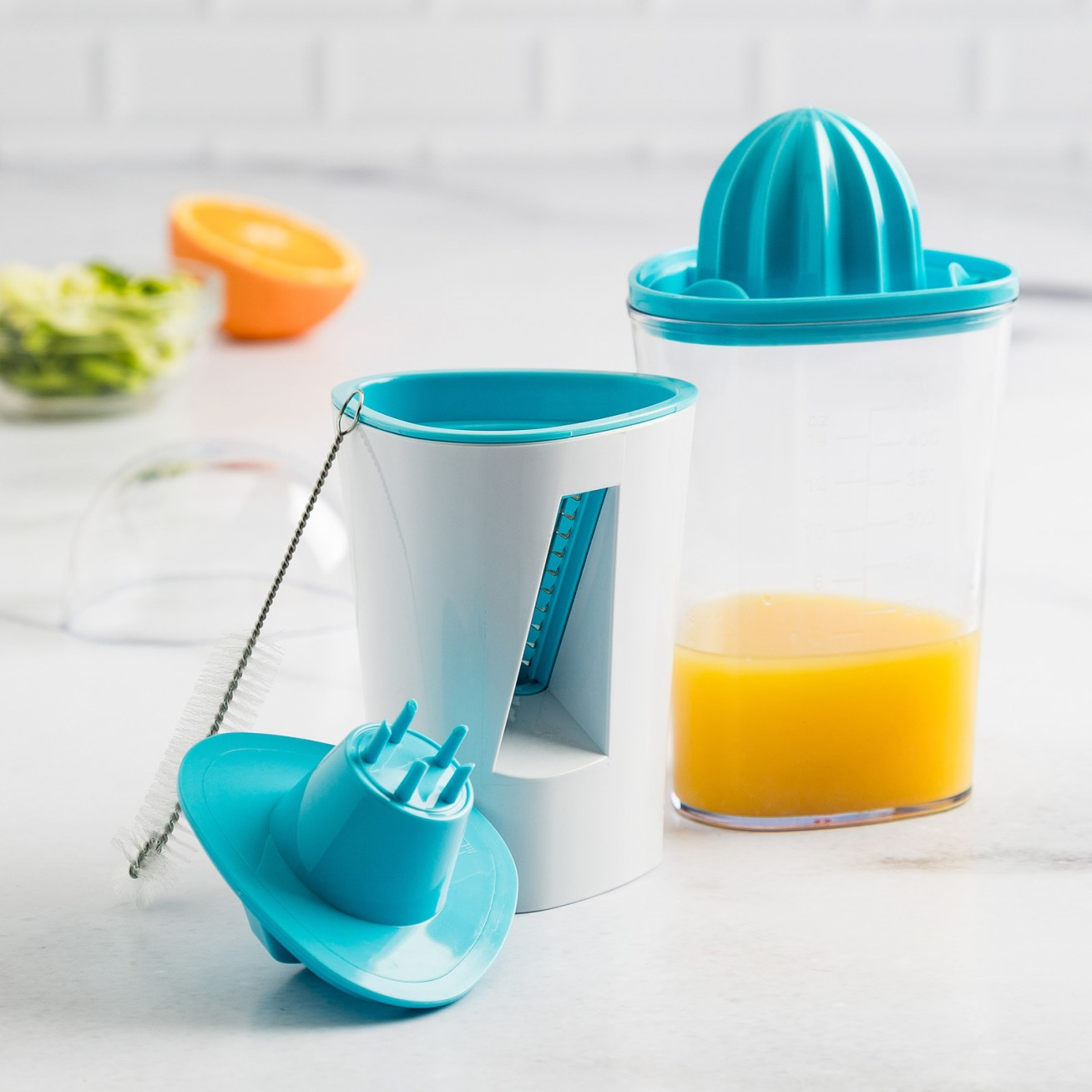 It can spiralize veggies, and then juice and measure citrus. It also comes with a lil' cleaning brush. Price: .97