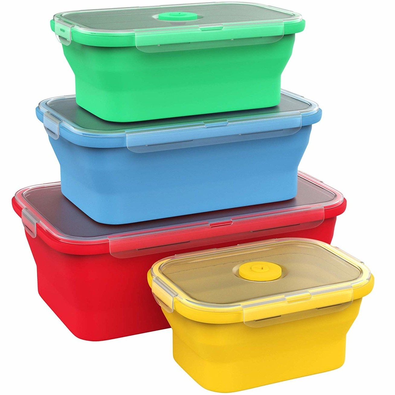 "Of course, they're also microwave and top-rack dishwasher safe! Promising review: ""What a great product. They fold up nice and fit in my purse to take restaurant leftovers home in. They store well in the cupboard too. They do hold odor a bit but if you pop them in the top rack of the dishwasher it gets the odor out, even with onion!"" —Layne SeedGet this set of four collapsible silicone containers on Amazon for .99."