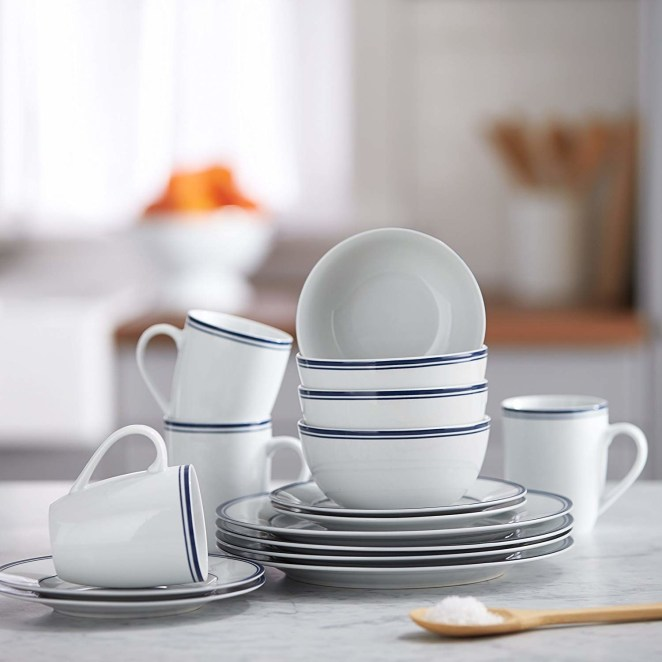 The 16-piece set includes four dinner plates, four dessert plates, four bowls, and four tall mugs. The dishes are microwave-, oven-, and dishwasher-safe.