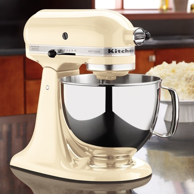The stainless-steel stand mixer includes a coated flat beater, coated dough hook, six-wire whip, and a one-piece pouring shield. The flat beater and dough hook are dishwasher-safe. The 5-quart bowl has enough capacity to mix a single batch of dough for nine dozen cookies or four loaves of bread.