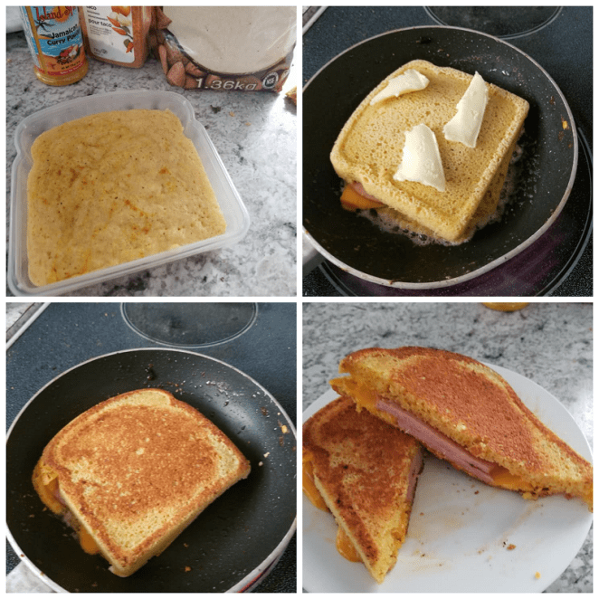 The secret to this low-carb grilled cheese sandwich lies is its 90-second low-carb bread recipe, which takes almond flour, egg, baking powder, and seasonings in a bread container to make bread. It'll taste best if you can crisp it on a skillet, but will work without the last step. Get the recipe.