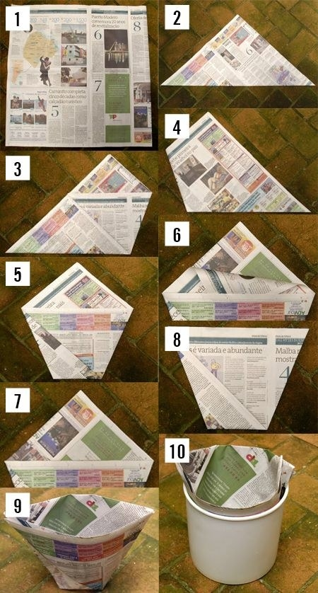 DIY Newspaper Trash Can Liners Instructions