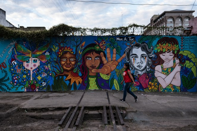 "A mural that reads ""If she is a child, she is not a mother"" in San Miguel de Tucumán."