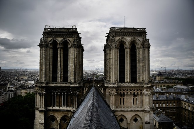 A photo taken on June 28, 2017 shows the roof of Notre Dame Cathedral, as the monument needs a huge restoration.