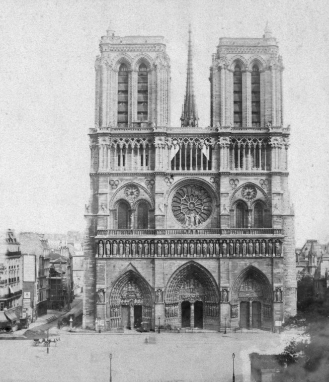 Notre-Dame Cathedral, France, late 19th or early 20th century. The Gothic Cathedral of Notre Dame de Paris was begun in the 12th century. The western facade was built between c1200 and 1225.