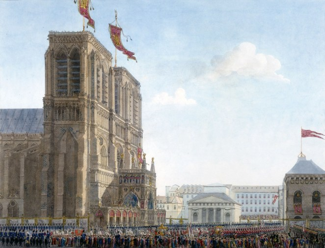 """The emperor arriving at Notre-Dame from """"Book of the Coronation"""" by Percier and Fontaine."""