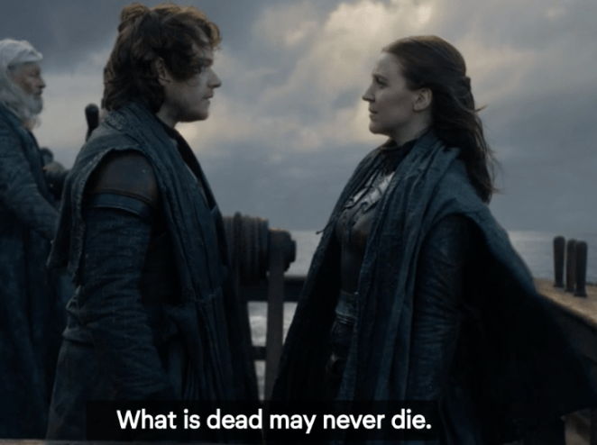 The two quickly part ways, though, as Yara heads back to the Iron Islands to retake them while Euron is in King's Landing, and Theon requests permission to head back to Winterfell to fight for the Starks. He's really embracing Jon's words about being both a Greyjoy and a Stark, and it's wonderful. Less wonderful: the knowledge that this is probably the last time Theon and Yara see each other! SOB.