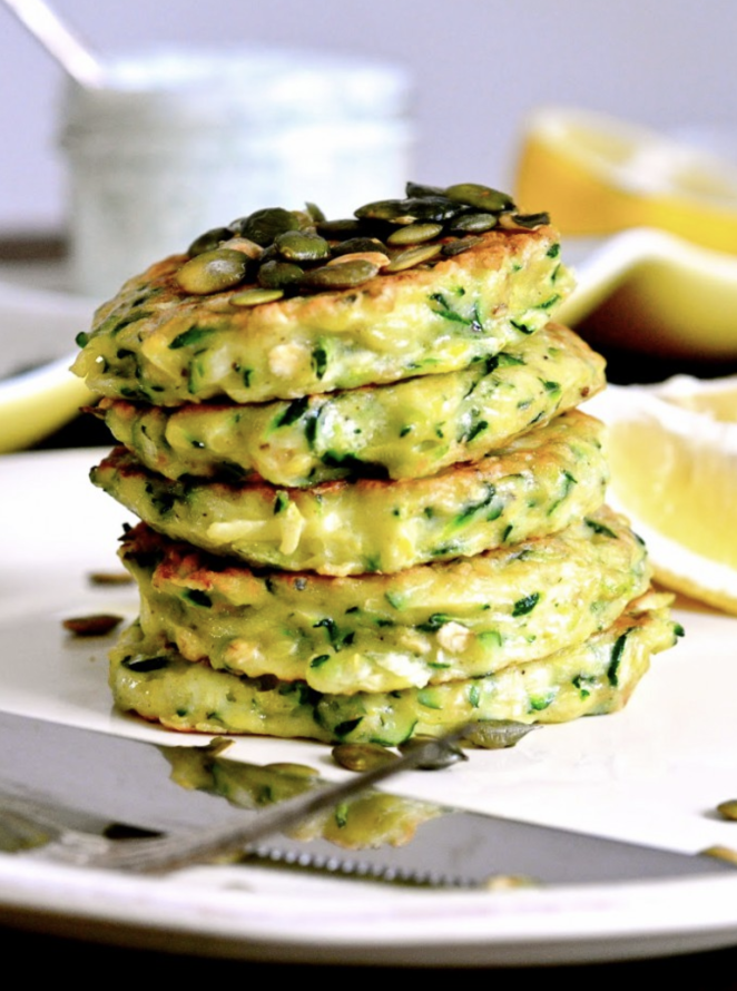 Pancakes aren't just a breakfast food, they're an anytime food. These zucchini pancakes are the perfect savory twist on a breakfast favorite.
