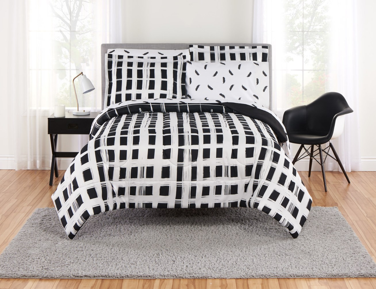 Includes a comforter, sheet set, shams, and pillow cases (items vary based on the size of the set).Price: .61+ (available in three sizes)