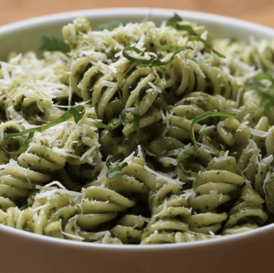 This fun little bowl uses pesto made from scratch, but if you're in a bit of a crunch, you can totally swap it out with your favorite storebought pesto.