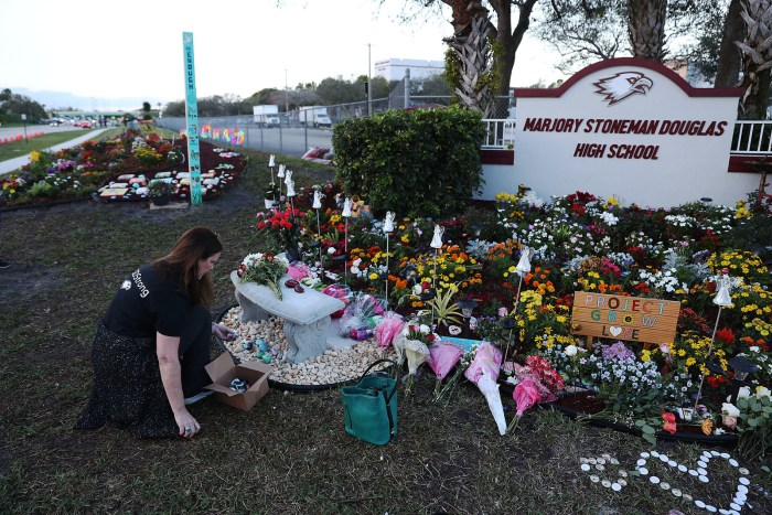 A memorial for the victims of the Marjory Stoneman Douglas High School shooting.