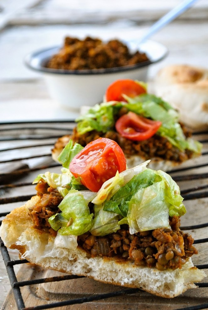 Lentils, onions, tomato sauce, and bread make the perfect sandwich combination. Get the delicious recipe here.