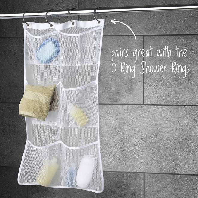 """Promising review: """"I don't know why I didn't go this route sooner! This mesh bag is awesome! It's minimized the bulk in my shower that my hanging metal caddy hanging from my showerhead caused. While the mesh bag does come 4x4, I currently only need use of 2x2, so I folded it in half. I love that flexibility! The pockets are deep, nothing falls out."""" —LarkGet it from Amazon for $10.92."""