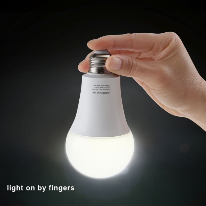 """Promising review: """"Unlike a flashlight or lantern, this 60w bulb can light a room! The light is warm, not the cold blue of emergency lights. It is rechargeable, has a portable attachment, or you can just screw it into a lamp at home and, if the power goes out, it lights up (if the switch on the lamp is turned on). I am buying more as gifts for others."""" —Jane ShoemakerGet a pack of two from Amazon for $15.99 (available in two shades)."""