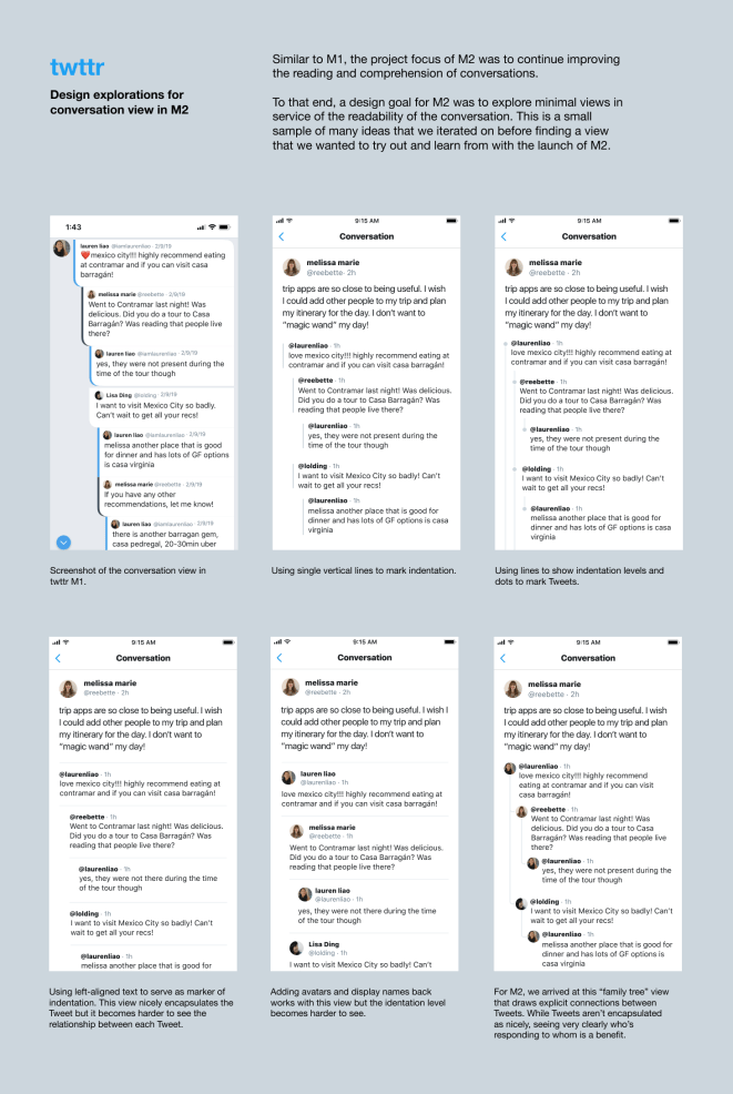 """Twitter explored multiple views for conversations in twttr. The first version included the chat bubble design shown on the top left. After trying different iterations, including one inspired by stops on a subway map (""""a good analogy for the complexity of Twitter's conversation problems""""), senior product designer Lisa Ding arrived at the family tree–inspired design on the bottom right for twttr version two."""