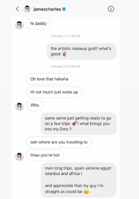 "What Happened: The model revealed James slid into his DMs. He shared the screenshot on Instagram, captioning it, ""People give this kid too much props. He got no game."""