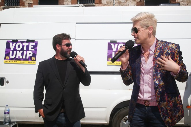 UKIP candidate Carl Benjamin and former Breitbart News editor Milo Yiannopoulos campaigning in Exeter.